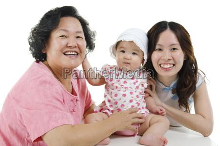 multi generations asian family