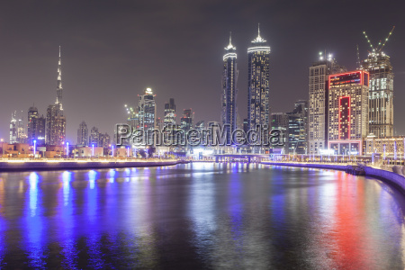 dubai water canal and downtown skyline