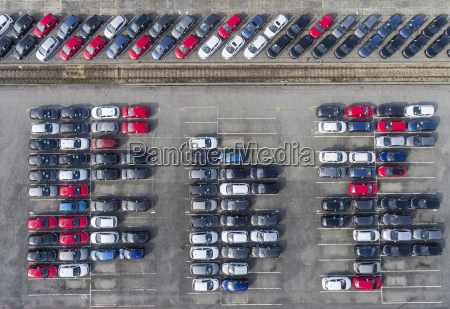 aerial view lot of vehicles on