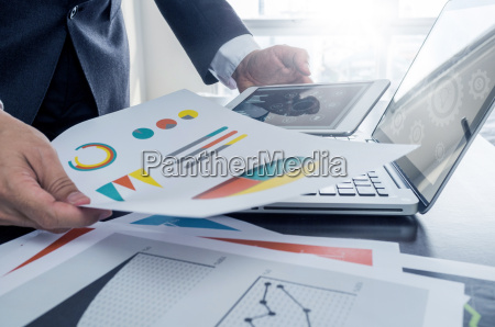 businessman working with digital tablet and