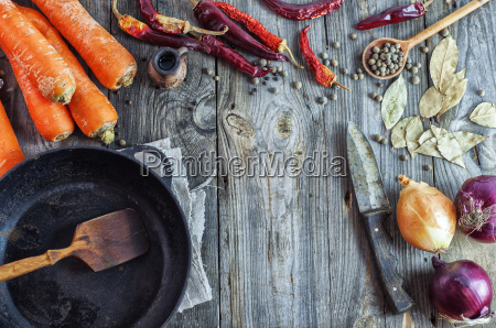 empty black frying pan and vegetables