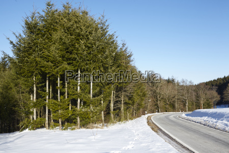 road through sylvan landscape with snow