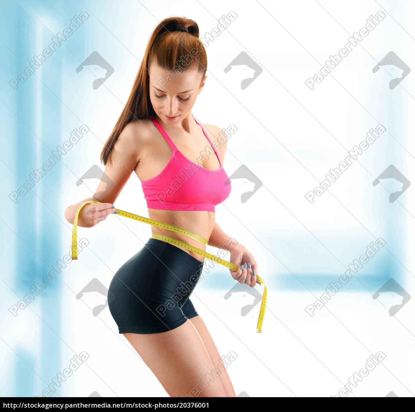 young, woman, measuring, herself., weight, loss - 20376001