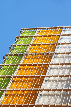 modern multi colored glass building exterior