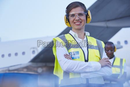 portrait smiling female air traffic controller