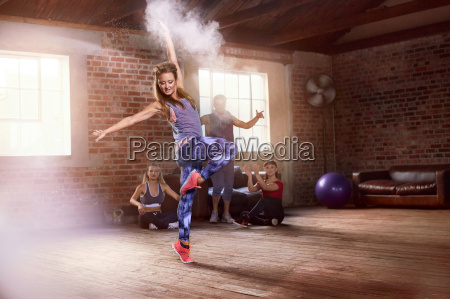 young hip hop dancer with powder