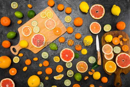 top view of various fresh whole