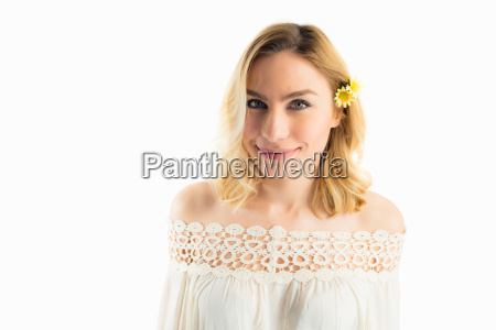 portrait of beautiful smiling woman against