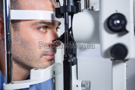 male patient getting his cornea checked