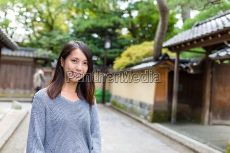 young asian woman in kanazawa city