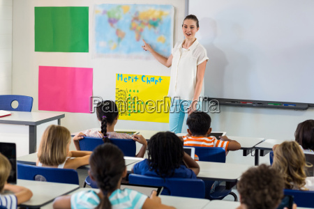 teacher pointing on map while teaching
