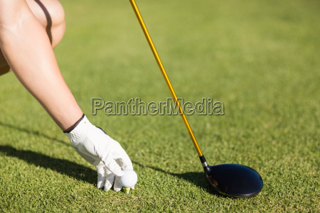 cropped image of golfer man placing