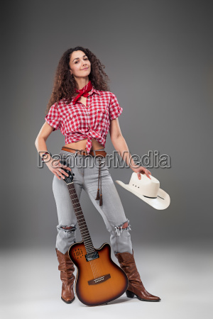 the, cowgirl, fashion, woman, over, a - 20429209