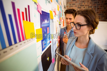 business executives looking at sticky notes