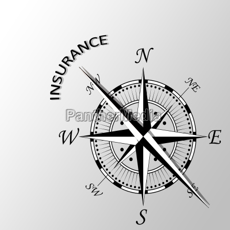 illustration of insurance word aside compass