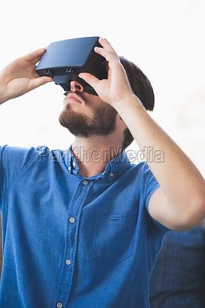 close up of man using virtual