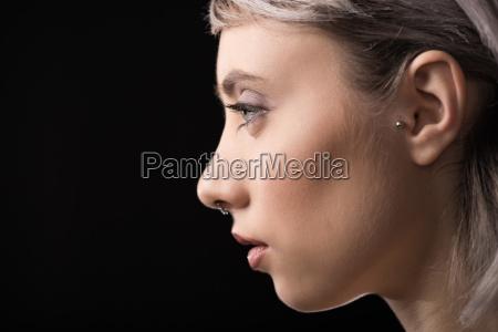 profile portrait of beautiful young stylish