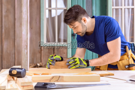 side, view, of, carpenter, in, protective - 20449035