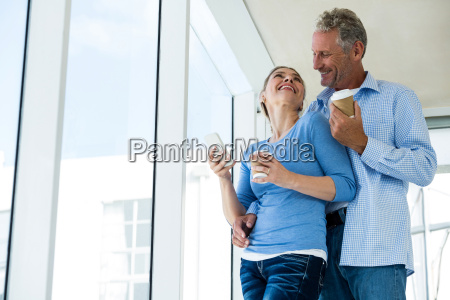 low angle view of mature couple