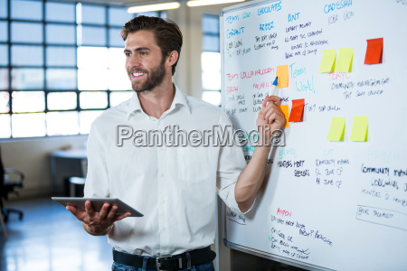 smiling businessman pointing on whiteboard