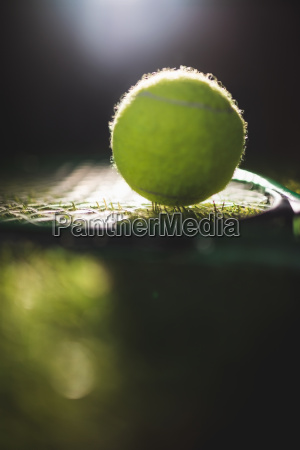 close up of tennis ball with