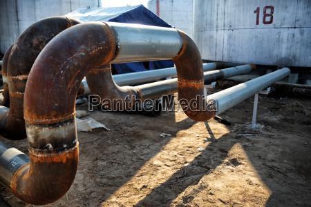steel pipes on industrial enterprise
