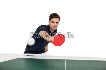 portrait of male athlete playing table