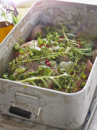 marinade with herbs and spring onions