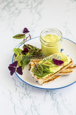 broad bean hummus with toast and