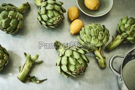 green artichokes and lemons