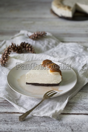 a slice of banana cheesecake with