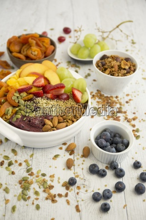 a smoothie bowl with acai berries