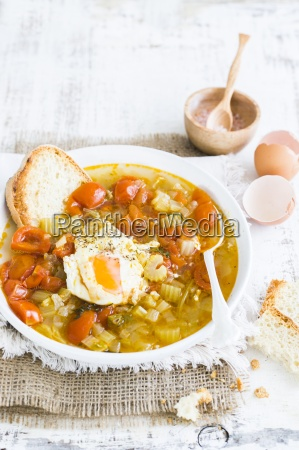 acquacotta tuscan vegetable soup with egg