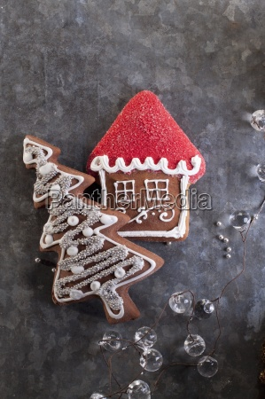 christmas gingerbread biscuits in the shape