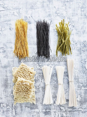 assorted types of pasta view from