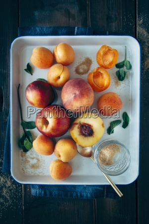 fruits with stones apricots peaches and