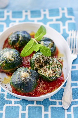 chard balls with rice mince filling