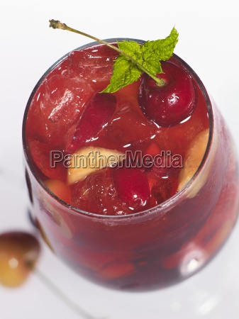 a fruity drink with cherries