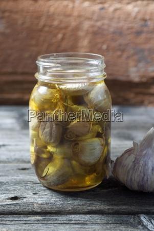 preserved garlic in mason jar