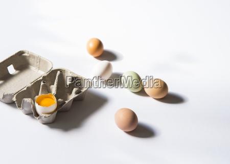 fresh chicken eggs next to an