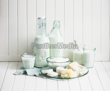 various dairy products and cheeses