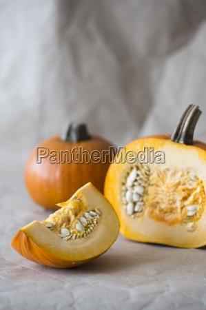 pumpkins whole and sliced