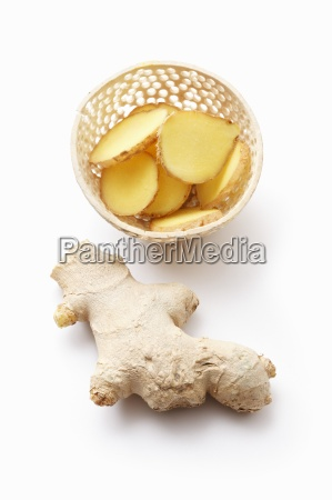 ginger whole and sliced