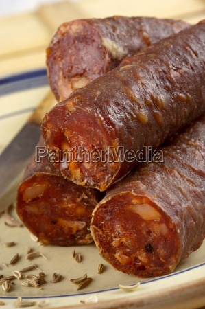 luganega spicy sausage from veneto italy