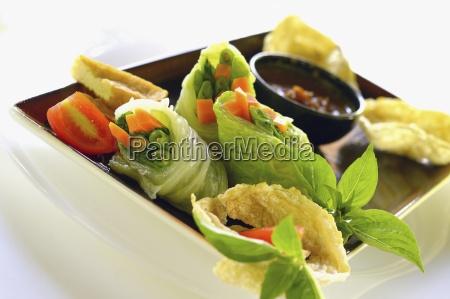 gado gado lettuce rolls indonesian