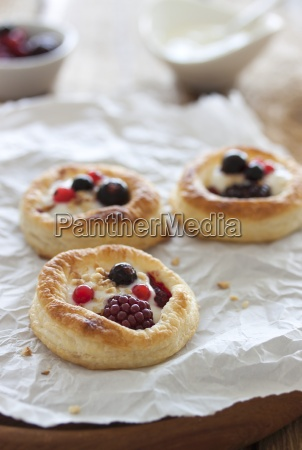 puff pastry tartlets with a berries