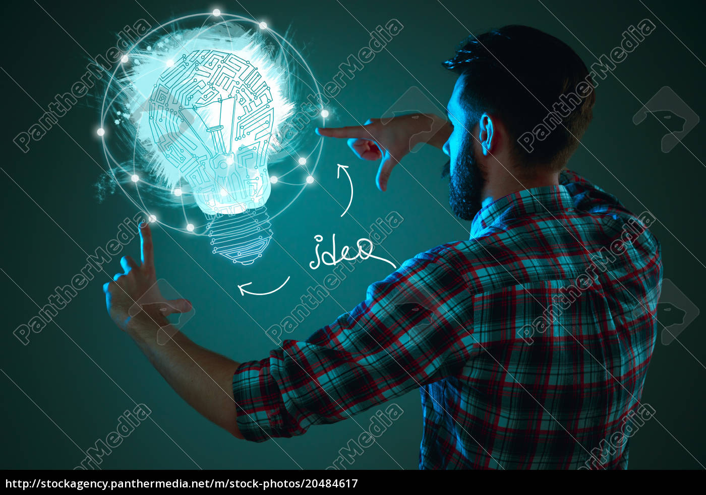 handsome, young, man, with, idea, bulb - 20484617