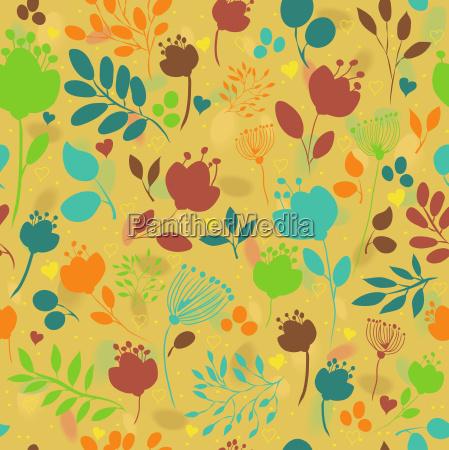 graceful summer flowers yellow seamless pattern