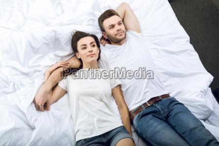 high angle view of pensive couple