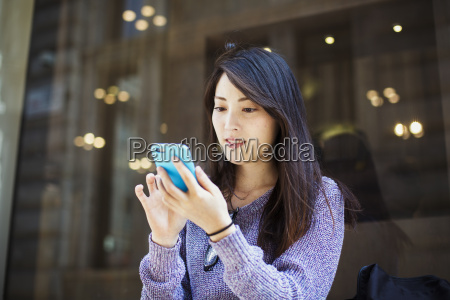 young japanese woman enjoying a day
